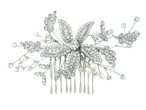 Pearl bridal hair comb with crystals
